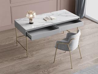 轻奢风格 防刮耐磨 岩板台面  不锈钢电镀 环保实用 长1.2米书桌