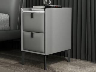 极简风格 岩板 实木内架 优质扪布 浅灰色 床头柜