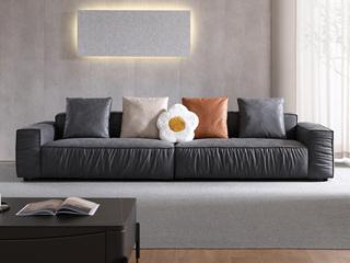 现代简约 高弹舒适 磨砂科技布  深灰色 3米 组合沙发