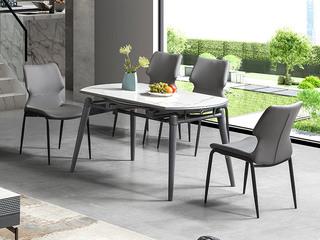现代简约 防刮耐磨 易清洗 岩板台面 纳斯夫白 跳台功能餐桌