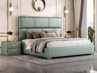 简美风格 真皮 高弹舒适  全实木床边 绿色 多功能储物实木高箱床 卧室1.8米双人床(图片为排骨架床)