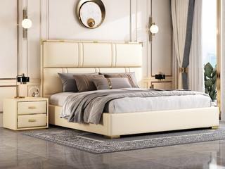 简美风格 全实木床边 皮艺 柔软舒适 米黄色 多功能储物实木高箱床 卧室1.8米双人床(图片为排骨架床)