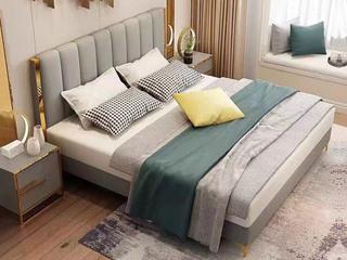 轻奢风格 皮艺 浅灰色 1.5*2.0米床(图片为排骨架床)