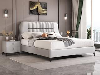 简美风格 全实木床边 皮艺 柔软舒适 浅灰色 多功能储物实木高箱床 卧室1.8米双人床(图片为排骨架床)