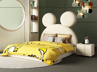 轻奢风格 柔软亲肤 米黄色 布艺 米老鼠床头C款1.5*2.0米儿童床(升级10公分松木排骨架)