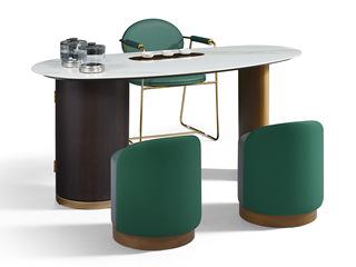 极简风格 古铜拉丝工艺 高级岩板台面 触感细腻 优质实木 稳固承重 茶台