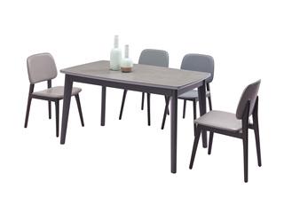 极简风格 优质实木 防刮耐磨岩板台面 质感细腻 稳固承重 餐台